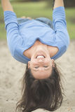 Attractive mature woman happy on swing royalty free stock images