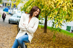 Attractive mature woman outside Stock Images