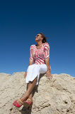 Attractive mature Woman at Seaside royalty free stock photography