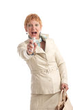Attractive mature woman shouting. Fear Royalty Free Stock Photography