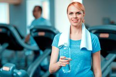Attractive mature woman at sports club Stock Image