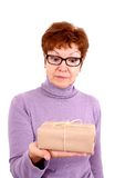 Attractive mature woman with surprise Stock Images