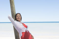 Attractive mature woman tropical holiday Royalty Free Stock Images