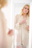 Woman and mirror Royalty Free Stock Photo