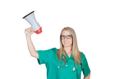 Attractive medical girl with a megaphone Stock Image