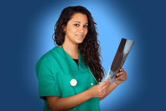 Attractive medical with a radiography Stock Images