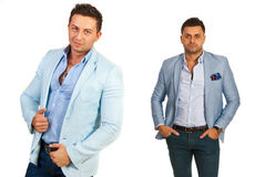 Attractive men in casual suits Stock Images