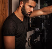 Attractive men indoor. Attractive man indoor. Close-up photo Royalty Free Stock Photo