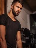 Attractive men indoor. Attractive man indoor. Close-up photo stock photos