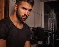 Attractive men indoor. Stock Photo