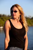 Attractive Middle Aged Blond Woman at the Beach Stock Images