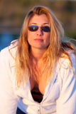 Attractive Middle Aged Blond Woman at the Beach Royalty Free Stock Photography