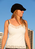 Attractive Middle Aged Blond Woman at the Beach Royalty Free Stock Photo