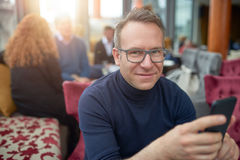 Attractive middle-aged man wearing glasses Stock Photography
