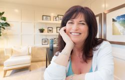 Attractive Middle Aged Woman Portrait Inside Her Home Office stock images
