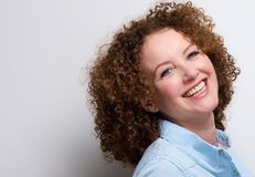 Attractive middle aged woman smiling Royalty Free Stock Photos
