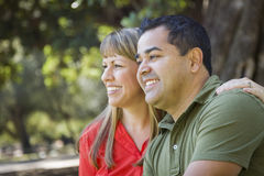 Attractive Mixed Race Couple Portrait at the Park Royalty Free Stock Photos
