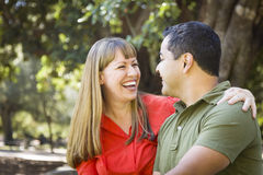 Attractive Mixed Race Couple Portrait at the Park Stock Images