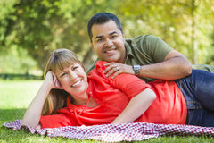 Attractive Mixed Race Couple Portrait at the Park Royalty Free Stock Images