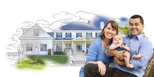 Attractive Mixed Race Family Over House Drawing and Photo Royalty Free Stock Photos