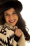 Attractive mixed race female model wearing sweater and hat Royalty Free Stock Photo