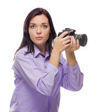 Attractive Mixed Race Young woman With DSLR Camera on White Stock Photo