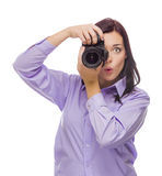 Attractive Mixed Race Young woman With DSLR Camera on White Stock Image