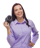 Attractive Mixed Race Young woman With DSLR Camera on White Royalty Free Stock Photos