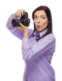 Attractive Mixed Race Young woman With DSLR Camera on White Royalty Free Stock Images