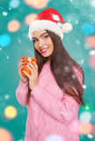 Attractive model with cup of hot drink Stock Image
