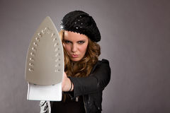 Attractive Model with Iron Royalty Free Stock Photo