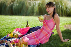 Attractive model at a picnic Royalty Free Stock Photography