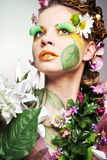 Attractive model posing as Spring Lady. Young attractive model posing as Spring Lady Royalty Free Stock Images
