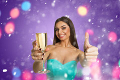 Attractive model showing ''it`s very good Royalty Free Stock Images