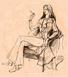 Attractive model sits on a chair. And smoking stock illustration