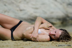 Free Attractive Model With Bikini On The Sand In Number Of Interesting Poses Royalty Free Stock Photography - 61514407