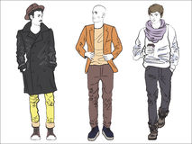 Attractive modern fashionable man set in fashion clothes. Color line drawing. Royalty Free Stock Image