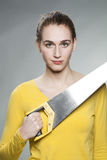 Attractive modern girl acting like DIY knight of building improvement Stock Images