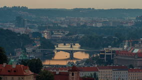 Attractive morning view of Prague bridges and old town timelapse, Czech Republic stock video footage