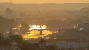 Attractive morning view of Prague bridges and old town timelapse, Czech Republic. View from Strahov Monastery after sunrise stock video footage