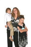 Attractive mother and her son and daughter Stock Images