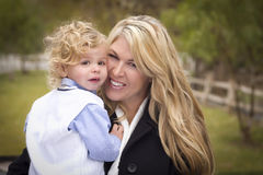 Attractive Mother and Son Portrait Outside Stock Photos