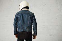 Attractive motor biker in blank jacket mockup set Royalty Free Stock Photo