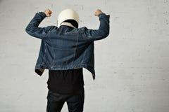 Attractive motor biker in blank jacket mockup set Royalty Free Stock Photography