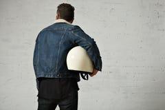 Attractive motor biker in blank jacket mockup set stock images