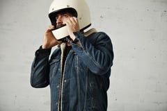 Attractive motor biker in blank jacket mockup set Royalty Free Stock Images