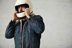 Attractive motor biker in blank jacket mockup set Stock Photos