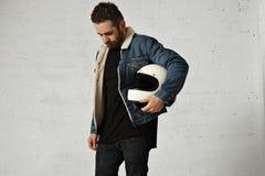 Attractive motor biker in blank jacket mockup set Royalty Free Stock Image