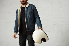 Attractive motor biker in blank jacket mockup set stock photography