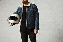 Attractive motor biker in blank jacket mockup set Stock Image